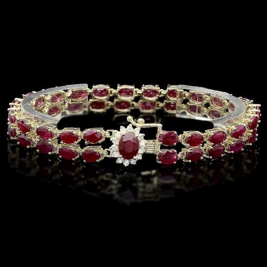 14k Gold 20.00ct Ruby & 0.50ct Diamond Bracelet