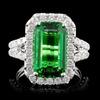 18K White Gold 4.09ct Tsavorite & 1.11ct Diamond R