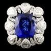 18K Gold 17.56ct Tanzanite & 3.50ctw Diamond Ring