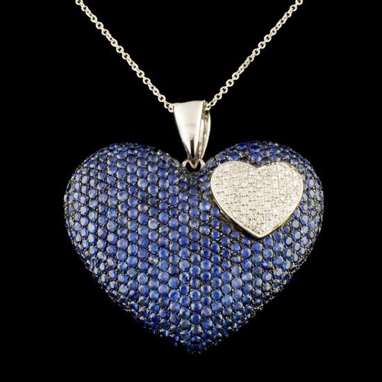 14K Gold 9.51ct Sapphire & 0.45ctw Diamond Pendant