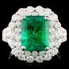 18K W Gold 3.54ct Emerald & 1.77ct Diamond Ring