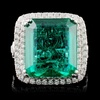 18K W Gold 9.87ct Emerald & 1.33ct Diamond Ring