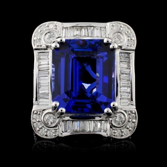 18K Gold 10.71ct Tanzanite & 1.70ctw Diamond Ring