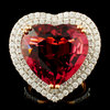 18K Gold 16.47ct Rubellite & 1.76ctw Diamond Ring