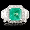 18K Gold 2.13ct Emerald & 1.11ctw Diamond Ring