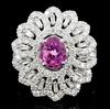 18K White Gold 1.00ct Pink Sapphire & 3.20ct Diamo