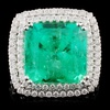 18K White Gold 10.43ct Emerald & 1.36ct Diamond Ri