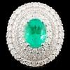18K Gold 2.27ct Emerald & 2.40ctw Diamond Ring