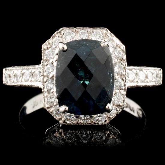 18K Gold 2.50ct Tourmaline & 0.80ctw Diamond Ring