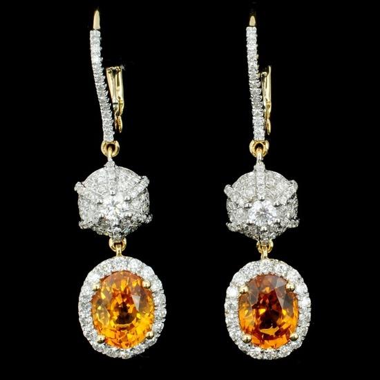 18K Gold 3.51ct Sapphire & 0.93ct Diamond Earrings