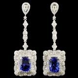 18K Gold 9.48ct Tanzanite & 5.15ctw Diamond Earrin