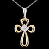 18K TT Gold 0.47ctw Diamond Pendant