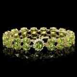 14k Gold 43.00ct Peridot & 0.60ct Diamond Bracele