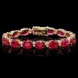 14k Gold 40.00ct Ruby & 1.50ct Diamond Bracelet