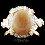 18K Gold 1.61ct Opal & 0.48ctw Diamond Ring