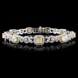 18K White Gold 5.66ctw Fancy Color Diamond Bracele