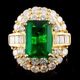 18K Gold 3.58ct Emerald & 2.23ctw Diamond Ring