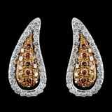 14K White Gold 1.09ctw Fancy Color Diamond Earring