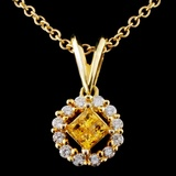 18K Yellow Gold 0.20ct Sapphire & 0.28ct Diamond P