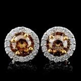 14K White Gold 0.92ctw Fancy Color Diamond Earring