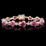 14K Rose Gold 9.02ct Ruby & 2.51ctw Diamond Bracel