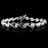 14K White Gold 1.00ctw Diamond Bracelet