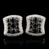 14K White Gold 1.47ctw Fancy Color Diamond Earring