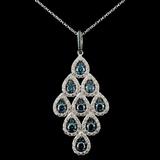 14K White Gold 2.36ctw Fancy Color Diamond Pendant