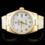 Rolex Day-Date 18K Gold White Roman 36MM Watch