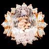 14K Gold 8.14ct Morganite & 0.95ctw Diamond Ring