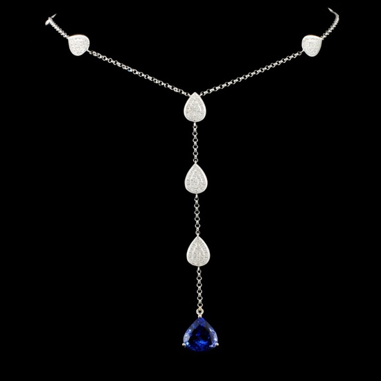 18K Gold 4.25ct Tanzanite & 1.00ctw Diamond Neckla