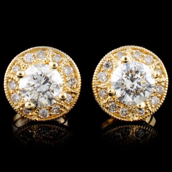 14K Gold 1.28ctw Diamond Earrings