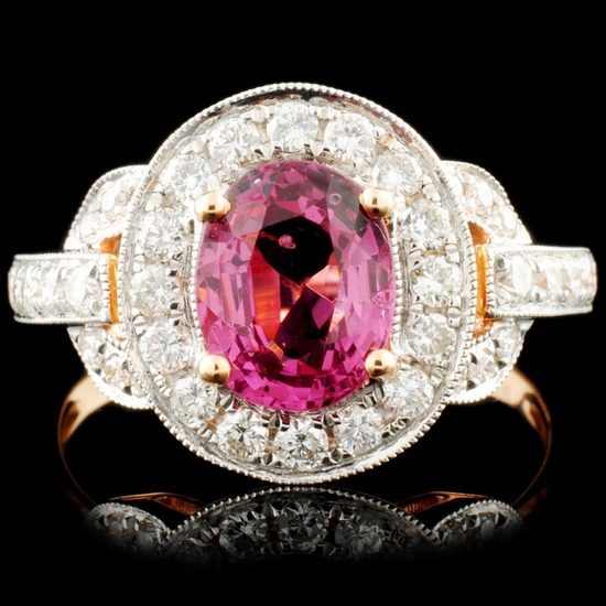 18K Gold 1.50ct Spinel & 0.63ctw Diamond Ring