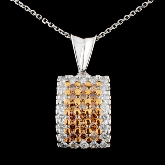 14K Gold 1.37ctw Fancy Diamond Pendant