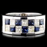 18K Gold 1.48ctw Sapphire & 1.07ctw Diamond Ring