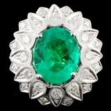 18K Gold 4.23ct Emerald & 1.93ctw Diamond Ring