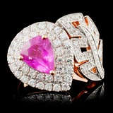 18K Gold 1.79ct Sapphire & 0.97ctw Diamond Ring
