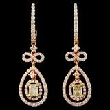 18K Gold 1.48ctw Fancy Diamond Earrings