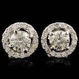 18K Gold 1.51ctw Diamond Earrings