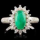 18K Gold 1.84ct Emerald & 0.62ctw Diamond Ring