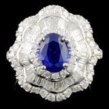18K Gold 1.65ct Sapphire & 1.36ctw Diamond Ring