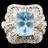 18K Gold 1.94ct Aquamarine & 1.20ctw Diamond Ring