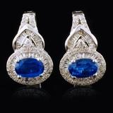 18K Gold 1.21ct Kyanite & 0.46ctw Diamond Earrings