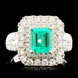 18K Gold 1.15ct Emerald & 1.19ctw Diamond Ring