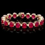 14k Gold 45.00ct Ruby & 1.00ct Diamond Bracelet