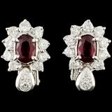 18K Gold 1.26ctw Ruby & 1.07ctw Diamond Earrings