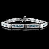 14K White Gold 3.82ctw Fancy Color Diamond Bracele