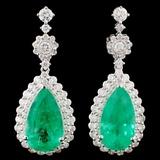 18K Gold 10.06ctw Emerald & 2.34ctw Diamond Earrin