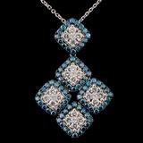 14K White Gold 1.88ctw Fancy Color Diamond Pendant