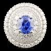 18K Gold 2.97ct Sapphire & 2.50ctw Diamond Ring